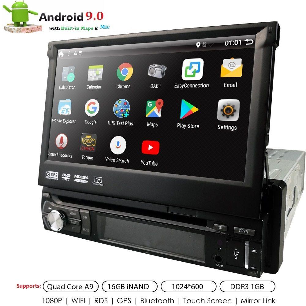 Universel 1 din Android 9.0 Quad Core lecteur DVD de voiture GPS Wifi BT Radio BT 1 GB RAM 32 GB SD 16 GB ROM 4G SIM LTE réseau SWC RDS CD
