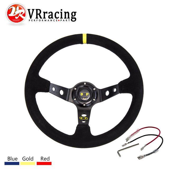 VR RACING - 14inch 350mm OMP Steering wheel Deep Corn Drifting Steering Wheel/Suede Leather Steering wheels VR-SW21