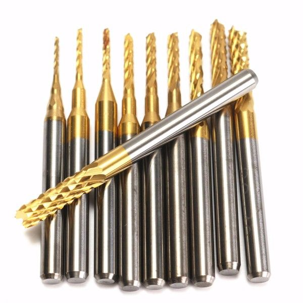 10Pcs/Box 1/8'' 0.8-3.175mm PCB Drill Bit Engraving End Mill Milling Cutter Carbide