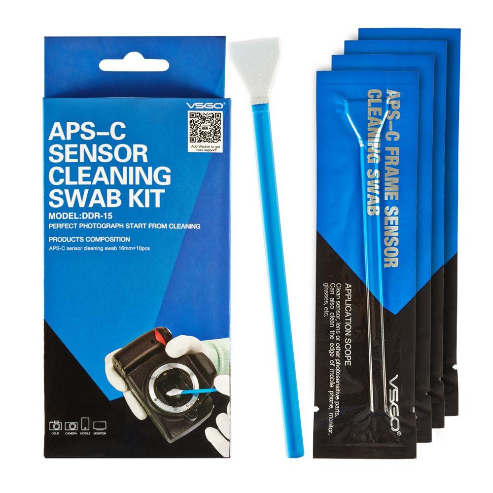 Kit d'écouvillon de nettoyage de capteur de cadre de APS-C professionnel VSGO 10 pièces paquet pour DSLR caméra capteur lentille téléphone écran clavier et lunettes.