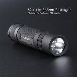 Convoy S2 + hitam UV 365nm senter led, nichia 365UV di sisi, OP reflektor, agen Neon deteksi