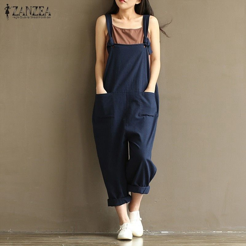 ZANZEA 2018 Casual Rompers Womens Jumpsuits Sleeveless Backless Casual <font><b>Loose</b></font> Solid Overalls Retro Strapless Playsuits Oversized