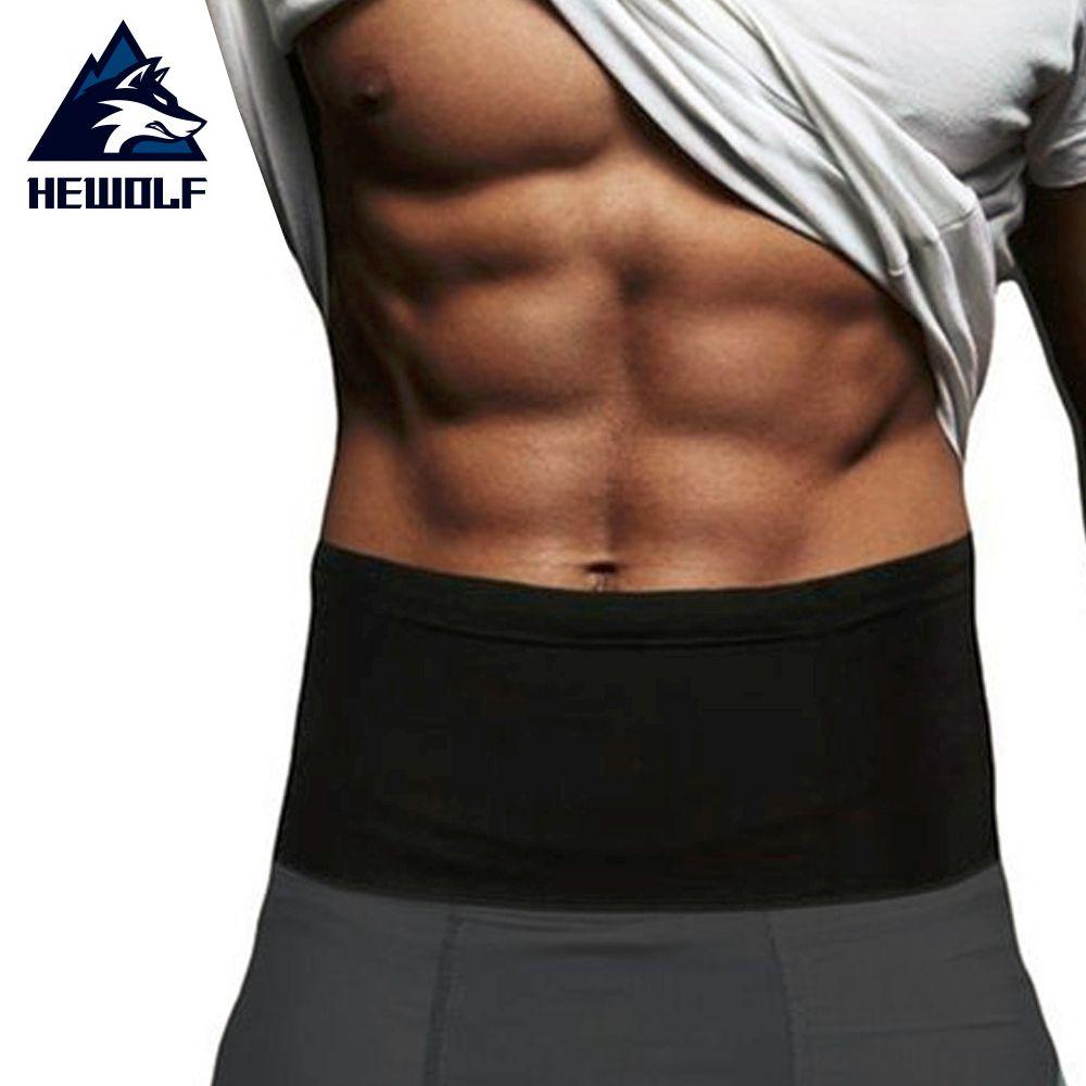 Hewolf Elastic Running Belt Fitness Waist Belt Travel Money Storage Belt With Multi Pockets for All Size Mobile Phone Passport