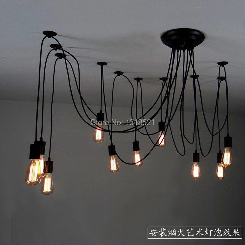 Mordern Nordic Retro Edison Bulb Light Chandelier Vintage Loft Antique Adjustable DIY E27 Art Spider Ceiling Lamp Fixture Light