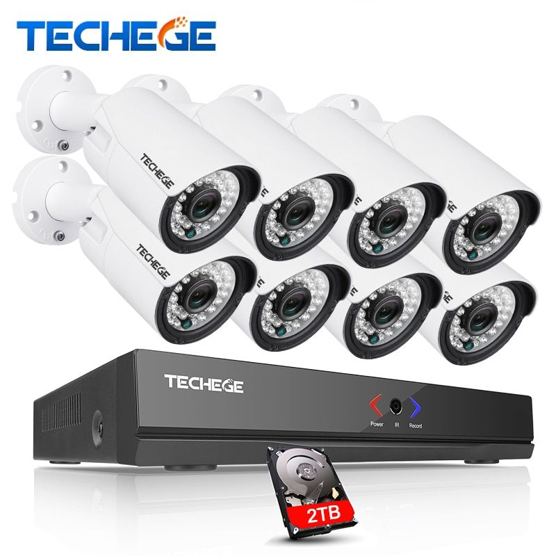 Techege 8CH 1080P 48V POE NVR 720P CCTV System 1500TVL Outdoor Waterproof IP66 1MP IP Camdera P2P Surveillance Camera System