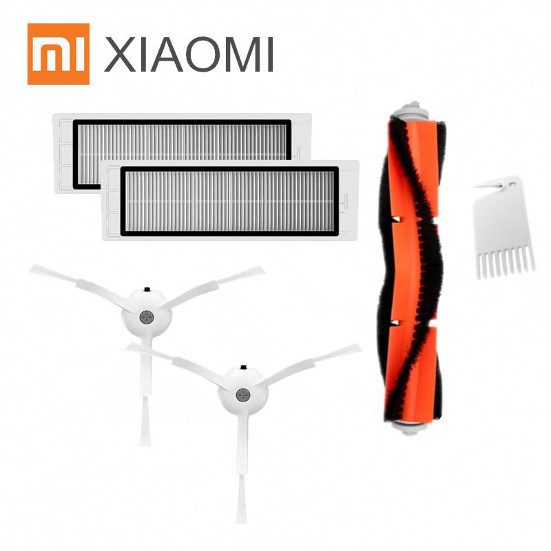 Original Packaging Xiaomi Robot Vacuum Cleaner Part Pack Side Brush X2PC, HEPA Filter X2PC, Main Brush X1PC, Cleaning Tool X1PC