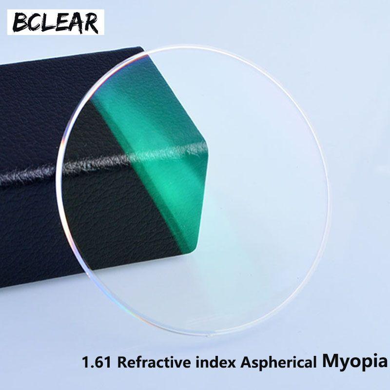 BCLEAR 1.61 lentilles de résine d'index lentille optique UV400 lentille de revêtement réfléchissant lunettes optiques lunettes pour myopie courte vue