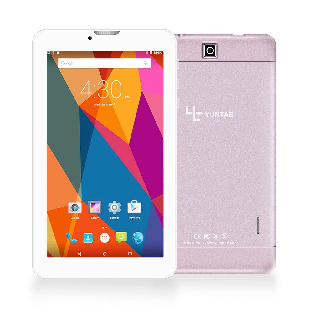 Yuntab 7 pouce Alliage Tablet PC E706 Android 5.1 Quad Core 1g + 8g avec taille normale SIM carte de téléphone portable Double Caméra rose or