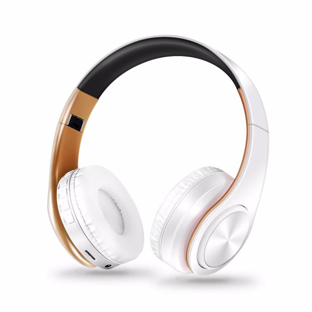 Livraison gratuite nouveau casque Bluetooth couleurs or casque stéréo sans fil écouteurs avec carte Mic/TF