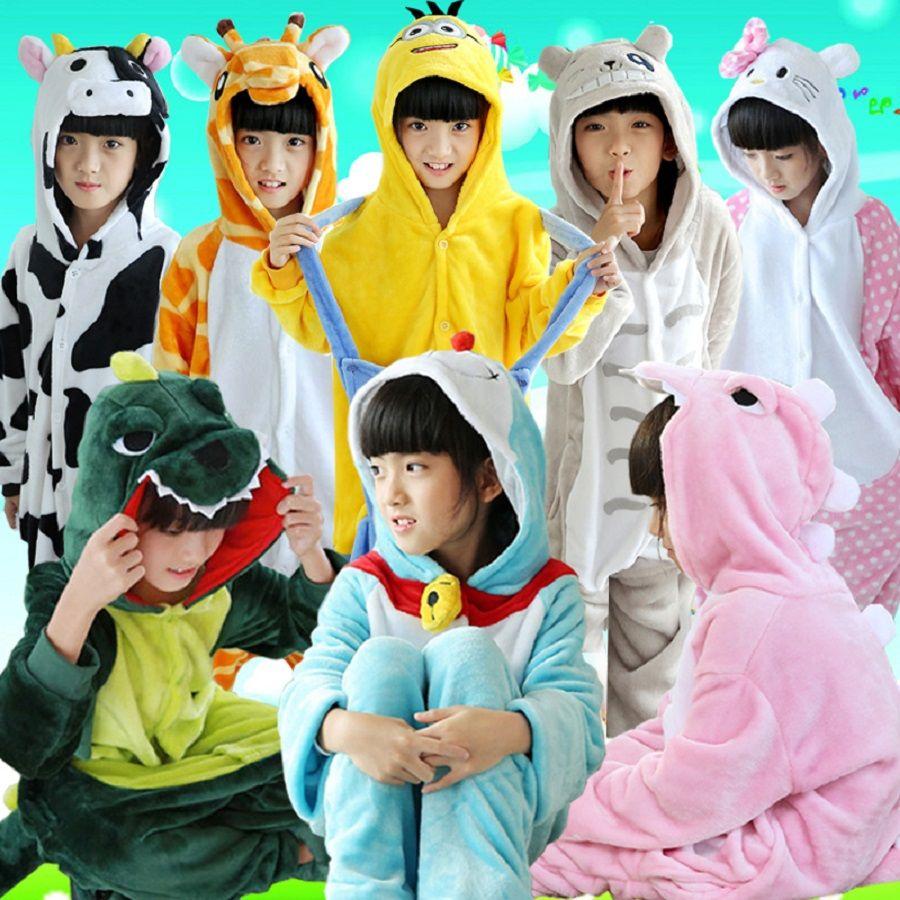 Животных мультфильм пижамы Onesie детские пижамы смешные дети Обувь для девочек Обувь для мальчиков Panda Дети стежка пижамы Комбинезоны Ночное