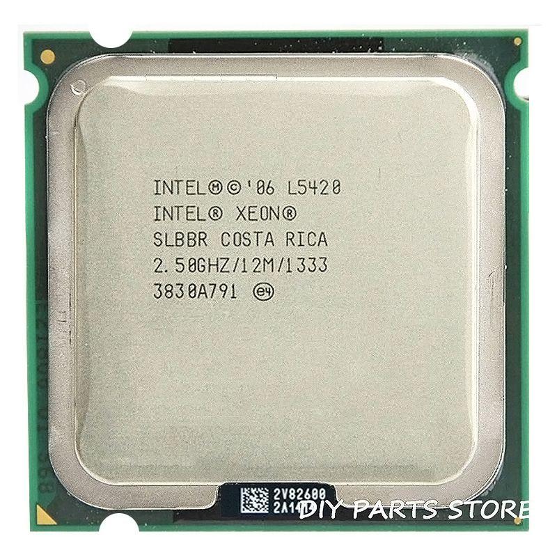 Intel Xeon L5420 Процессор Intel L5420 процессор Quad Core 4 ядра 2.5 мГц level2 12 м работать на 775 с 2 шт. adaperts