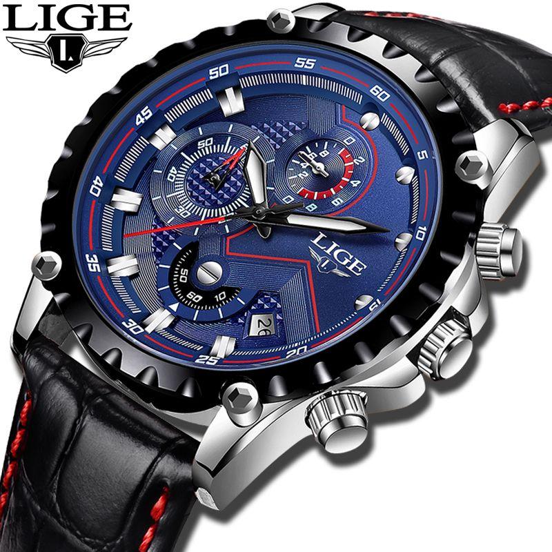 2018New LIGE Mens Watches Top Brand Luxury Military Sport Watch Men Casual fashion Waterproof Quartz Clock Relogio Masculino+Box