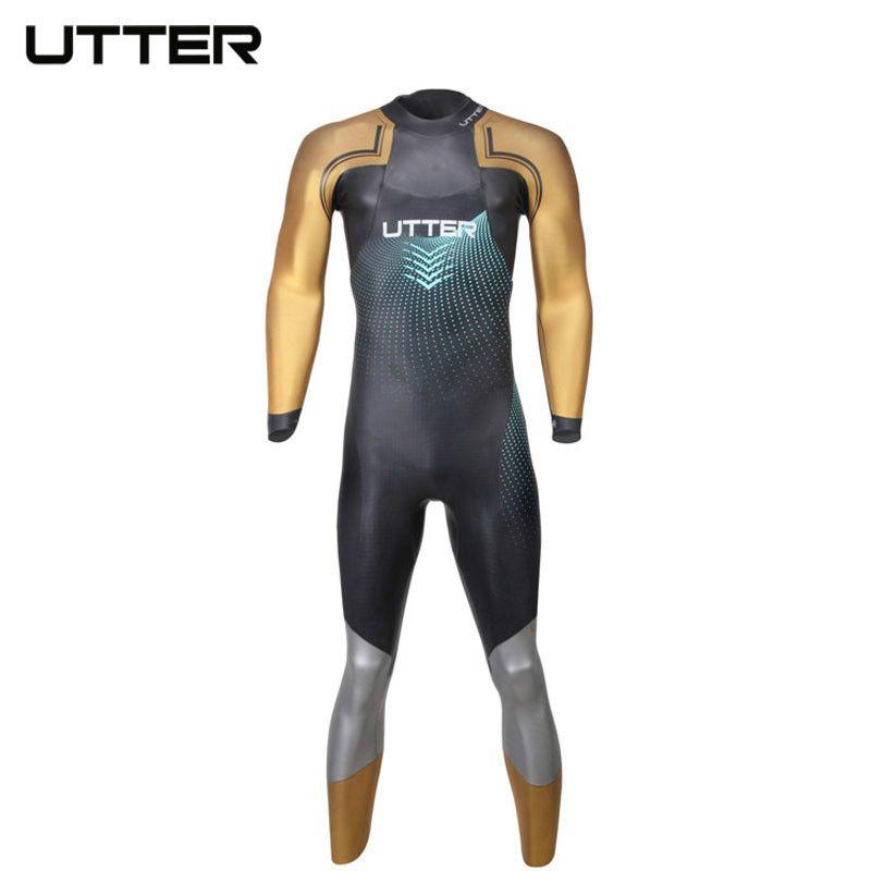 UTTER Elitepro Men's Gold SCS Triathlon Suit Yamamoto Neoprene Swimsuit Long Sleeve Wetsuit Swimming Suits for Men Swimwear