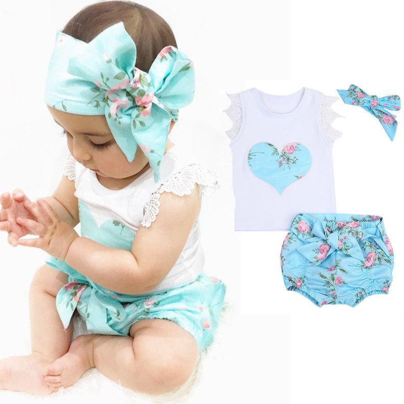 Летний комплект одежды для маленьких девочек белый жилет + юбка с цветочным рисунком + повязка на голову для младенцев хлопковые спортивные ...