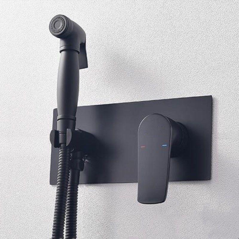 Bidet Armaturen Messing Bad dusche wasserhahn bidet wc sprayer Bidet wc waschmaschine mixer muslimischen dusche ducha higienica Schwarz