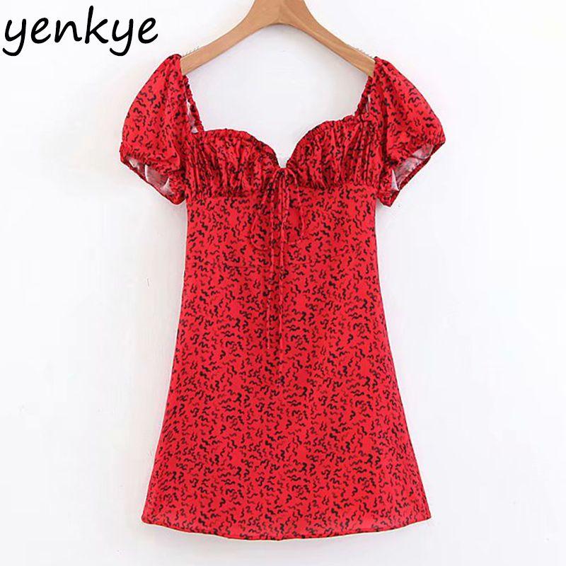 Frauen Kurzarm Low Ausschnitt Raupen Drucken Rote A-line Mini Sexy Kleid LJPZ8798