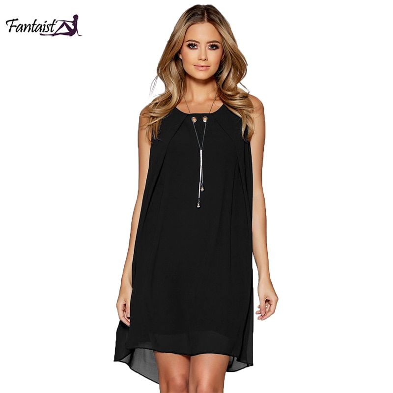 Fantaist Vestidos Mujer Loose Dress Ruffled Beading Sexy Open Back Sleeveless Casual Streetwear Black Novelty Black Mini Dress