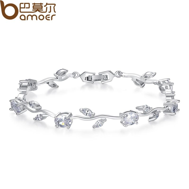 BAMOER Real White Gold Color Leaf Chain & Link Bracelet with Clear Rhinestone for Mother's Day Gifts Jewelry JIB071