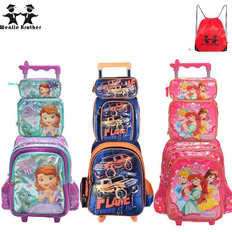 Вэньцзе Брат Дети Mochilas Школьные сумки с колеса тележки Чемодан для мальчиков Обувь для девочек рюкзак Mochila Infantil Bolsas
