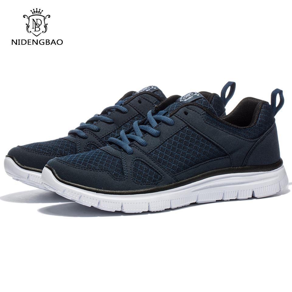 Marque Mesh chaussures décontractées hommes léger respirant hommes baskets chaussures homme marche chaussures noir grande taille 48