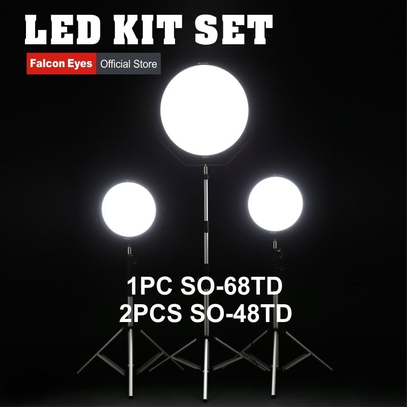 Falcon Eyes 48W 68W LED Panel Kit Set Dimmable High CRI95 3000-5600K Lighting Photo Video Film Continuous Light SO-48TD SO-68TD