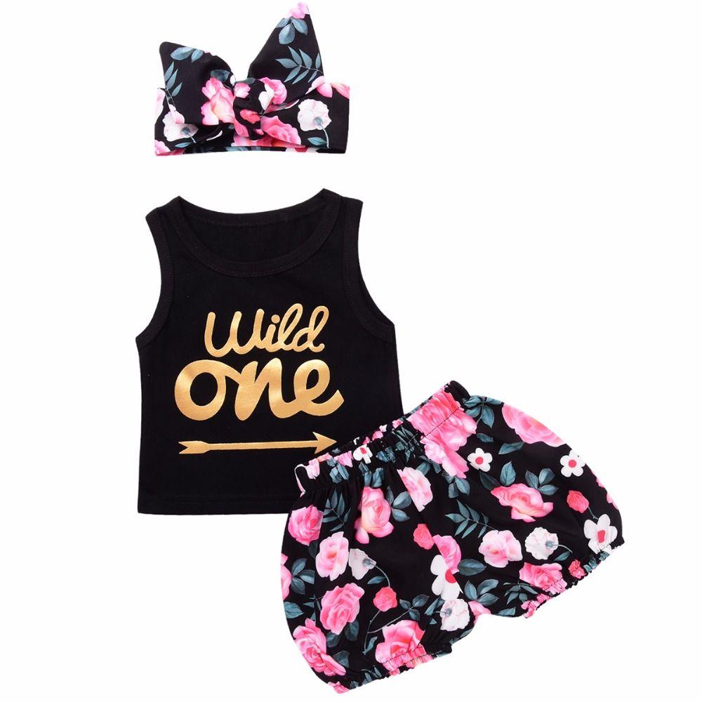 3 pièces ensemble infantile bébé fille vêtements sauvage une flèche lettre imprimer gilet haut Floral Shorts bas bandeau tenues enfant filles vêtements