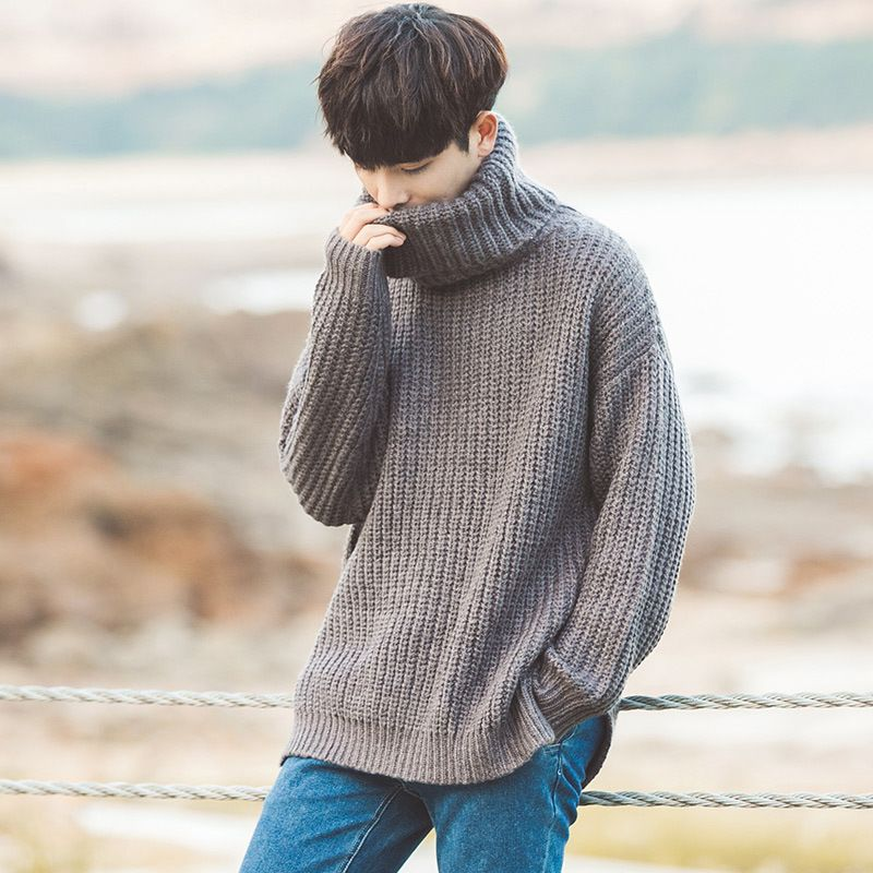 Fashion 2018 Indoor Casual Turtleneck loose Hip Hop male students winter Warm Pullovers Elastic shirts teenagers sweater