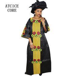 Afrika Gaun untuk Wanita Fashion Desain Baru Afrika Bazin Bordir Desain Gaun Panjang Syal Dua Buah Satu Set a188 #