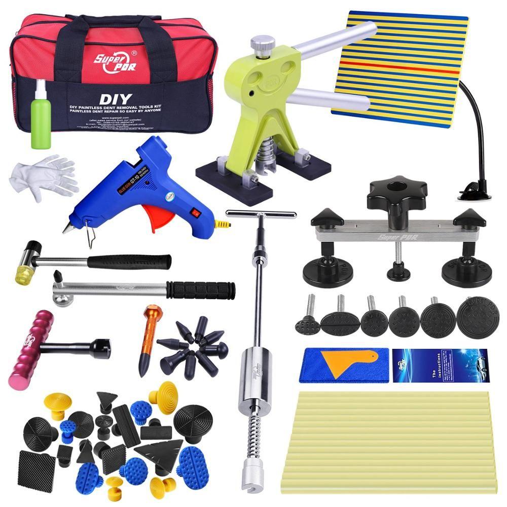 Professional Dent Repair Removal Tool Kit For Car Super PDR Tools Set Dent Repair Auto Pulling Bridge Glue Gun Rubber Hammer Bag
