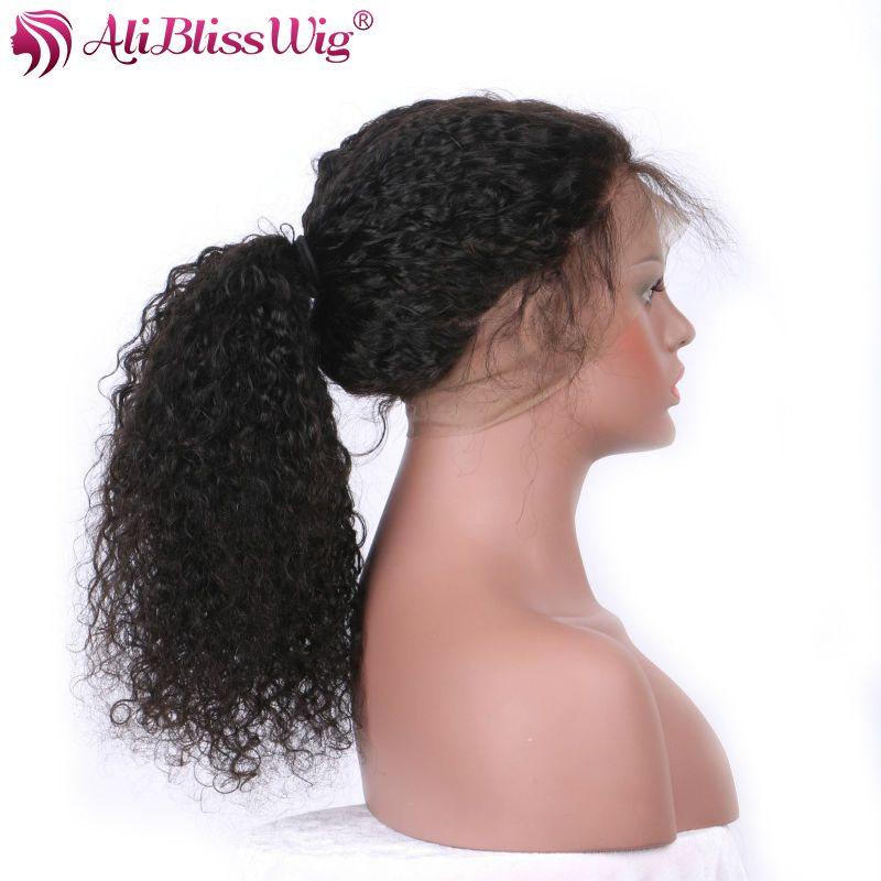AliBlissWig 360 Lace Frontal Wig Curly Wigs Human Hair Pre Plucked Natural Color Brazilian Remy 150% Lightly Bleached Knots