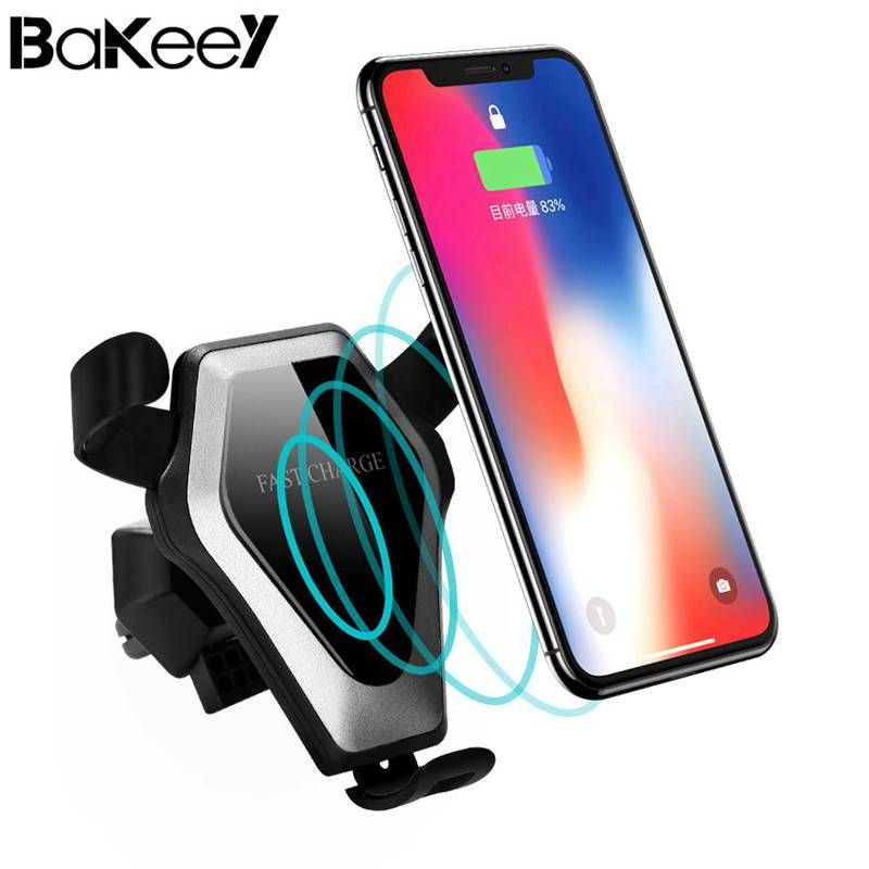 2018 Hot Bakeey Qi Wireless Car  Fast Charger and Standing New Suckers Cup Air Vent Mount Desktop Holders For iPhone For Samsung