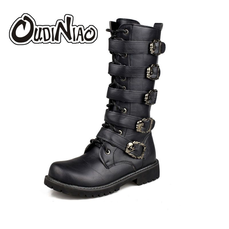 OUDINIAO <font><b>Army</b></font> Boots Men High Military Combat Boots Metal Buckle Punk Mid Calf Male Motorcycle Boots Lace Up Men's Shoes Rock