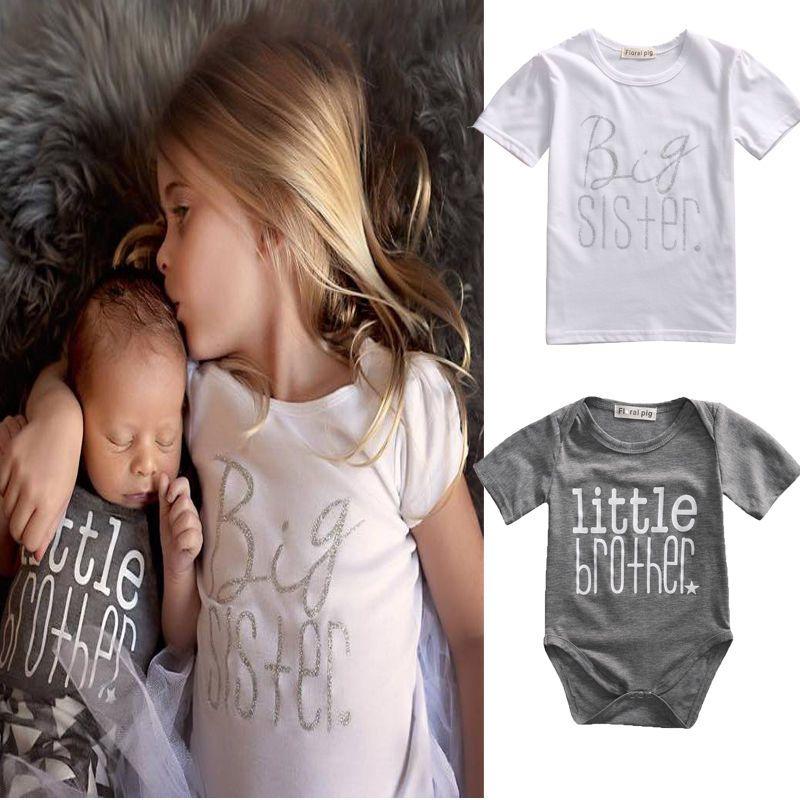 Одинаковая одежда из хлопка с надписью «Big Sister» футболка младший брат комбинезон одежда для мальчиков и девочек