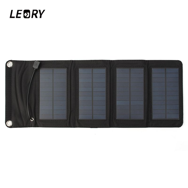 LEORY 7W USB Solar Power Bank Portable Solar Panels Battery Charger Camping Travel Folding For Phone Charging Kits