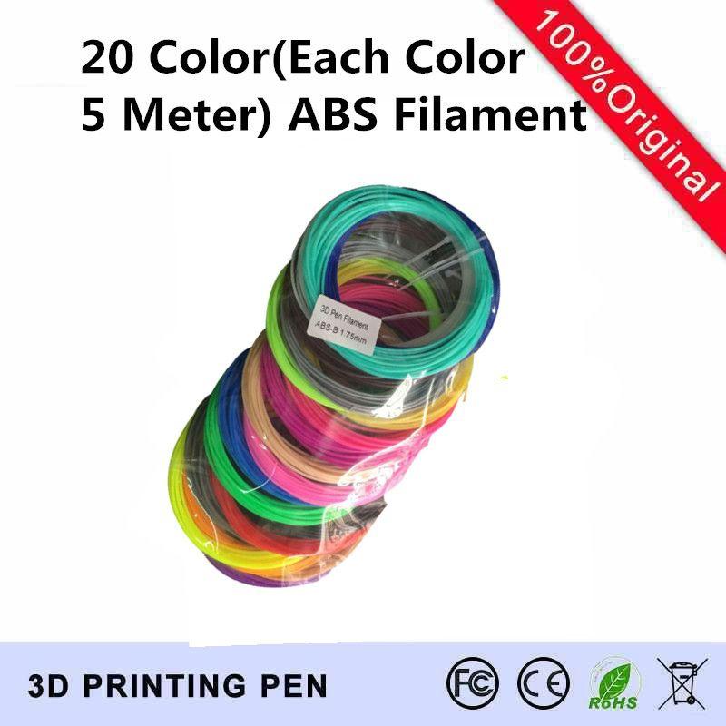 20 couleur (100 Mètre) ensemble 3D Pen Filament ABS 1.75mm En Plastique En Caoutchouc Matériel D'impression Pour Imprimante 3D Pen Filament Livraison Gratuite