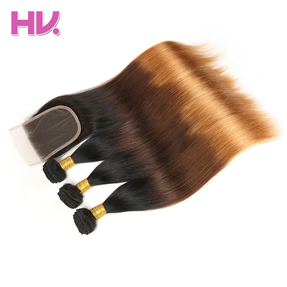 Hair Villa Pre-Colored Indian Straight Ombre Human Hair Lace Closure #1b/4/30 Non-Remy Hair 2/3 Bundles With 4*4 Lace Closure