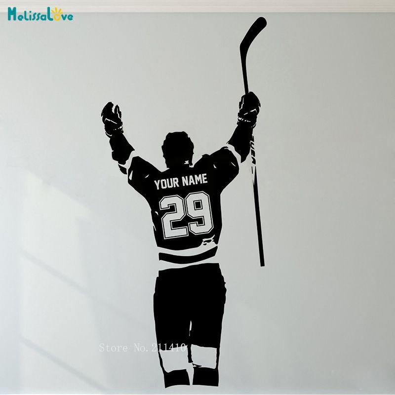 Sticker mural de Hockey personnalisé nom et numéro personnalisé joueur de Sport tourné autocollants en vinyle décor à la maison pour enfants garçon chambre peintures murales YT998