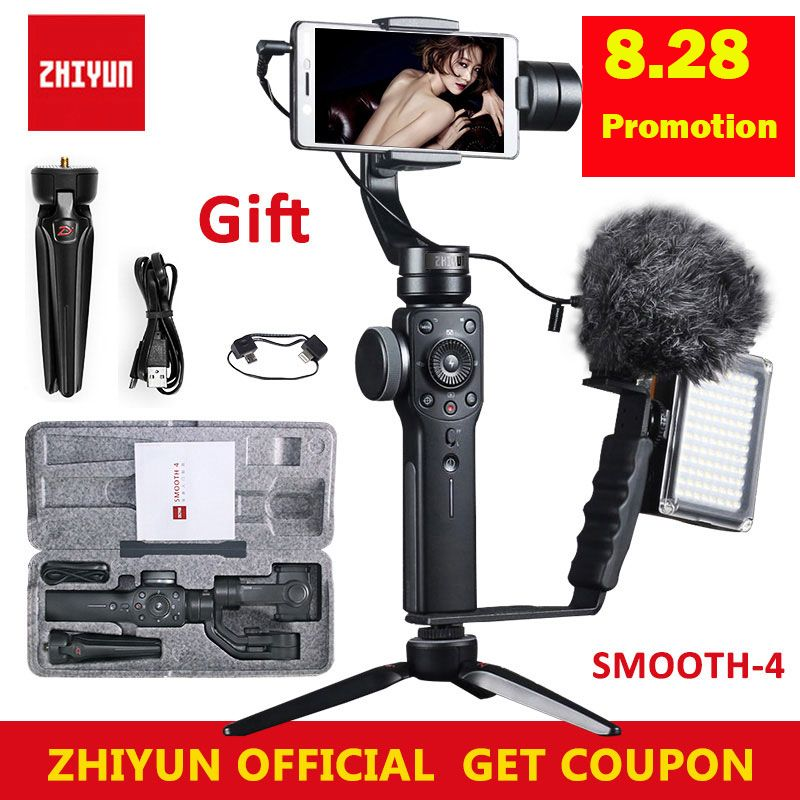 Zhiyun Smooth 4 Handheld 3-Axis Brushless Gimbal Stabilizer for iPhone X for Samsung for gopro PK DJI Osmo 2 Q