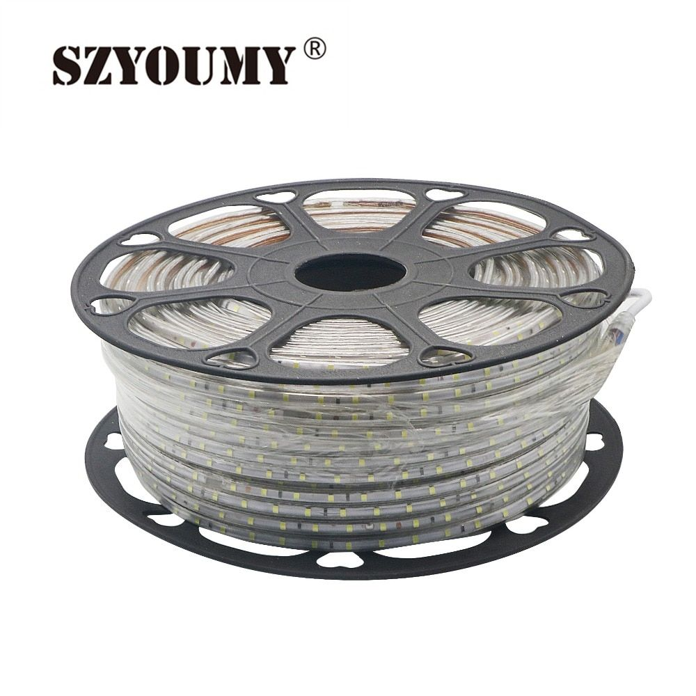 SZYOUMY 220V Led Strip 2835 60Leds/M IP65 Waterproof With Power Adapter Flexible LED Tape Ribbon Outdoor 50M 100M Free Items
