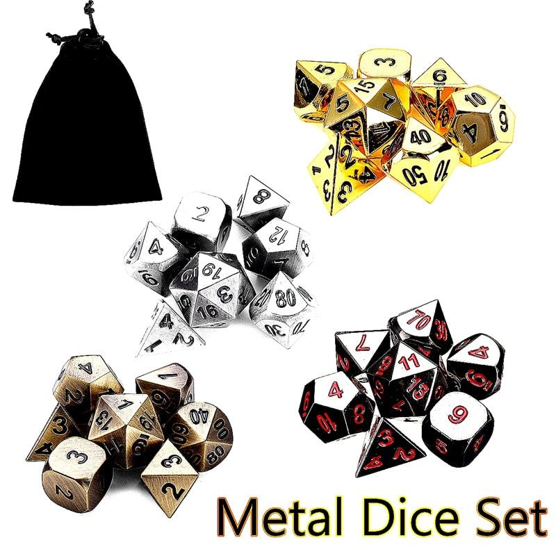 7Pcs Antique Metal Polyhedral Dice Poker Car Role Playing Game Party WIth Bag Playing Board Game Dices