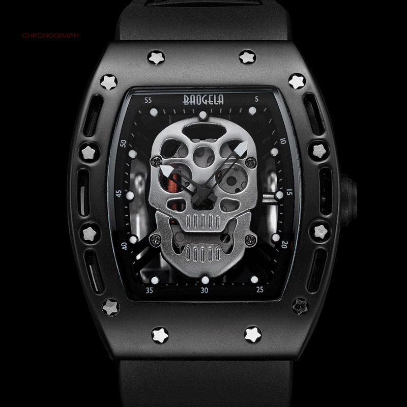 Mens Luminous Black <font><b>Silicone</b></font> Strap Army Skull Rectangle Dial Face with Stars Quartz Watches BGL1612G-2