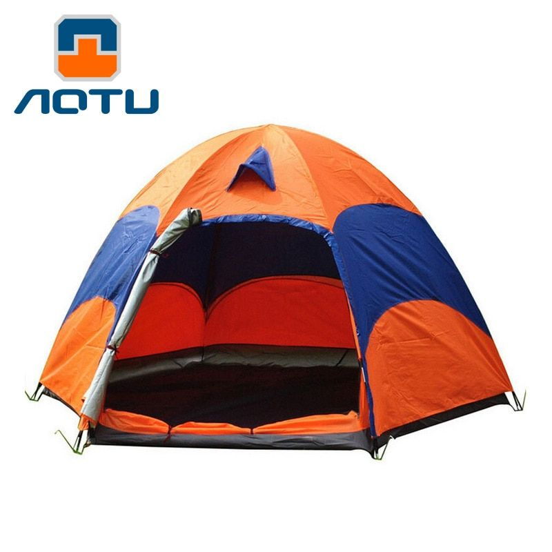 AOTU 5-8 Person Large Camping Tent Double Layer Sun Shade UV Beach Tent Tourists Carpas Big Outdoor Hexagon Family Camping Tent