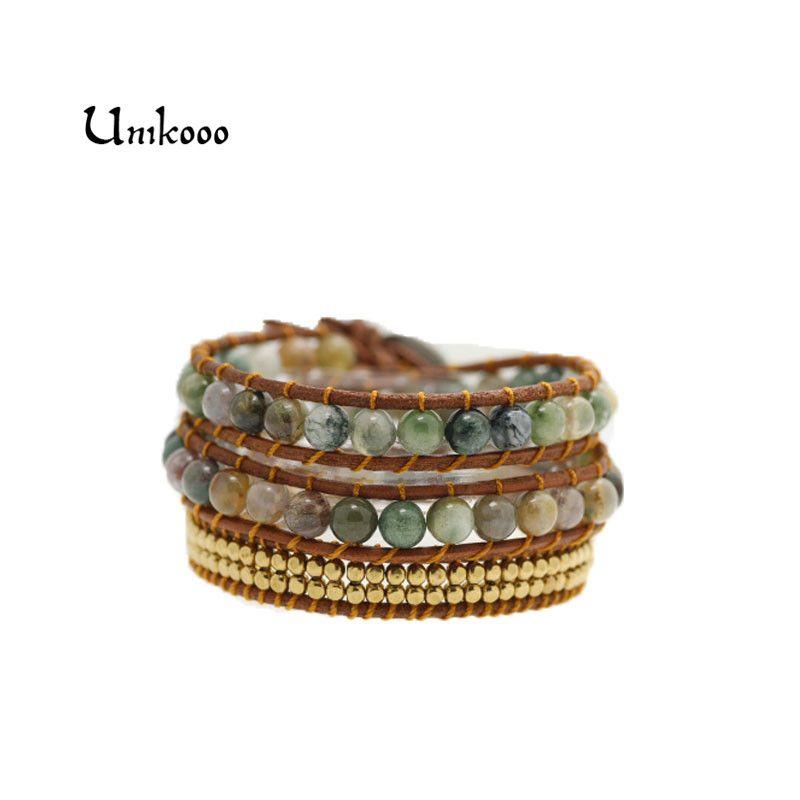 Bracelets bohème pour femmes Bracelet Vintage en cuir 3 brins multicouches en perles de cuivre tissées Bracelets d'enveloppement faits main