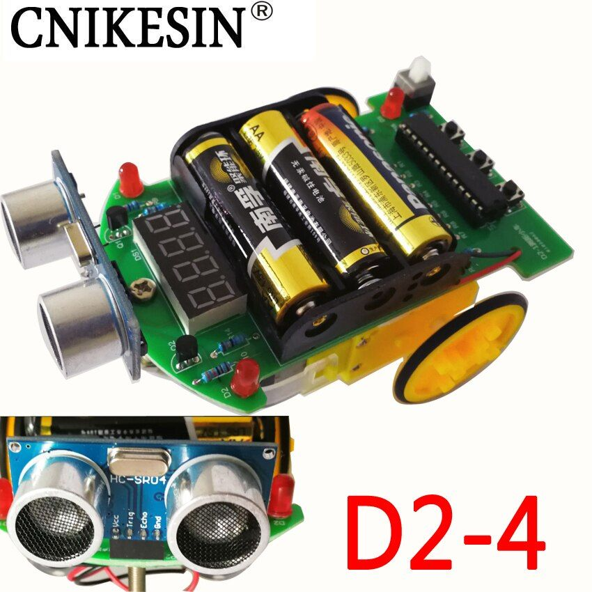 CNIKESIN D2-4 diy kit Intelligent tracking the car, Intelligent ranging car D2-4 car parts ultrasonic ranging module (no battery