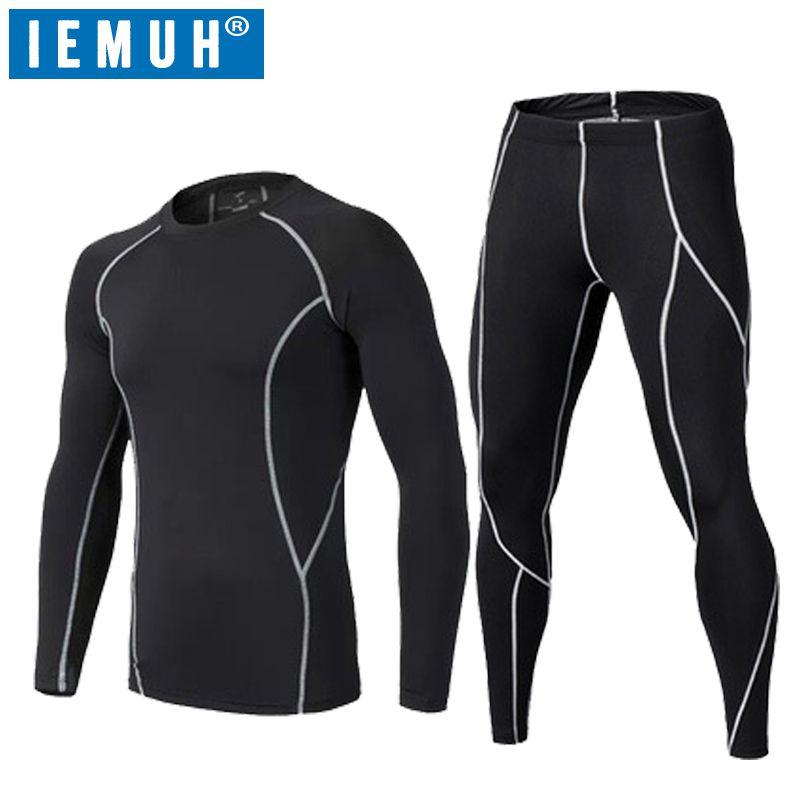 IEMUH Brand Men Winter Sport Thermal Underwear Quick Dry Elastic Compression Warm Long Johns Ski Fitness Thermo Underwear Set