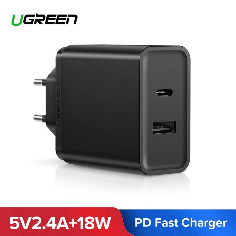 Ugreen 18 W Typ C PD Schnelle USB Ladegerät für iPhone X 8 XS XR PD Schnell Ladegerät 5 V 2.4A Telefon Ladegerät für Samsung Xiaomi Ladegerät