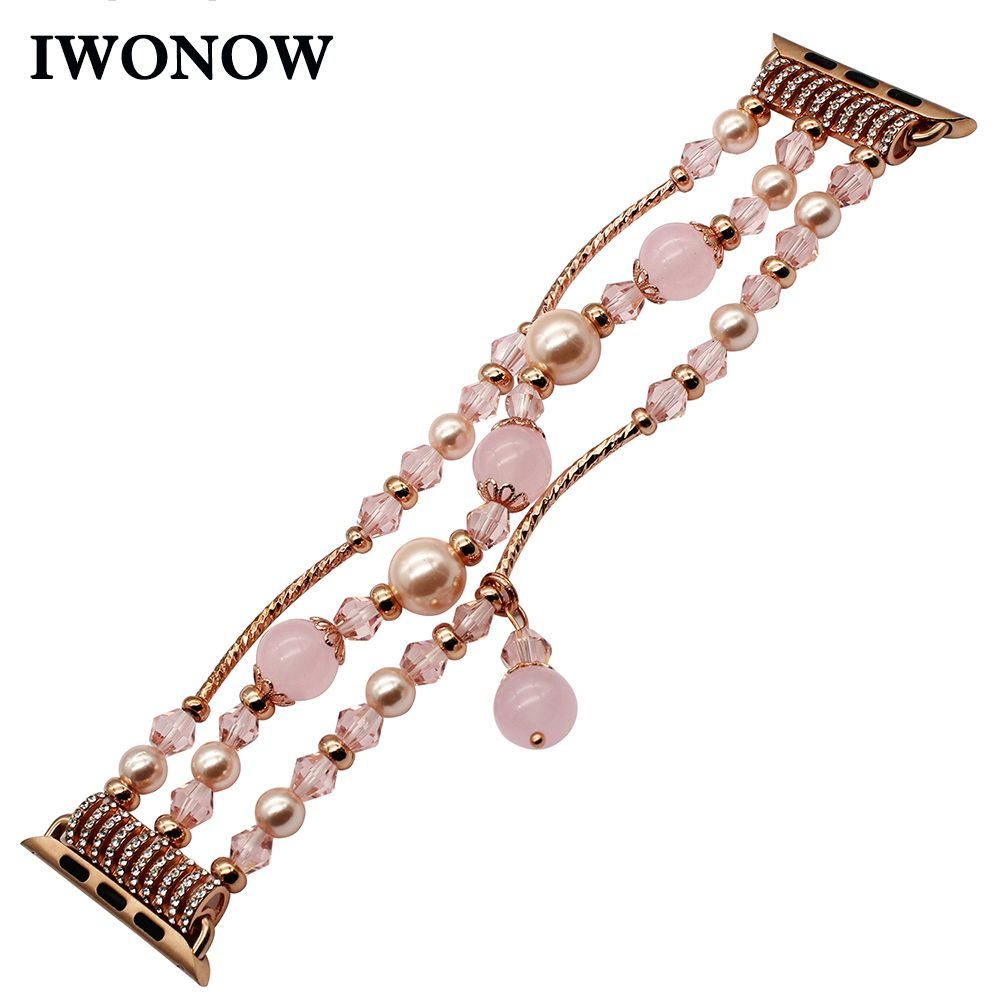 Luxury Agate Bead Watchband for iWatch Apple Watch 38mm 40mm 42mm 44mm Series 1 2 3 4 Flexible Band Woman Strap Jewelry Bracelet