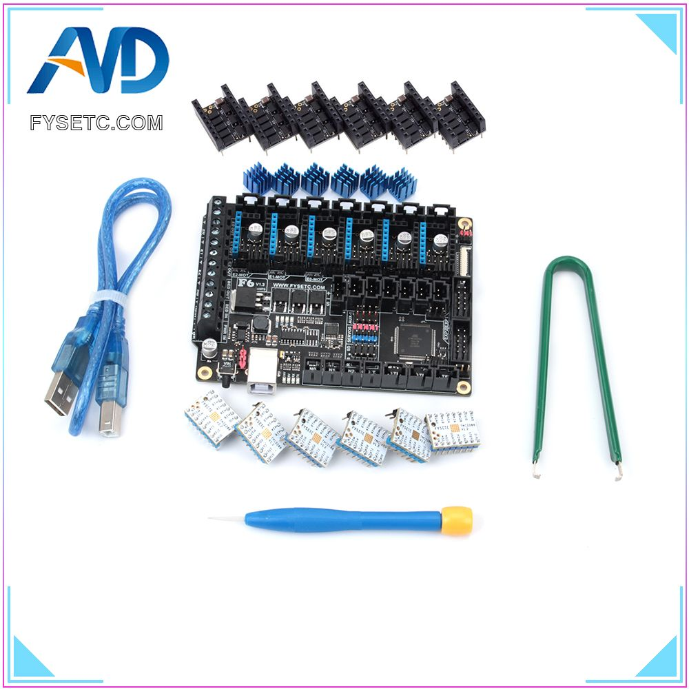 FYSETC F6 V1.3 Board ALL-in-one Electronics Solution Mainboard With 6pcs Special TMC2208 V1.2 and Protector For UART Flying Wire