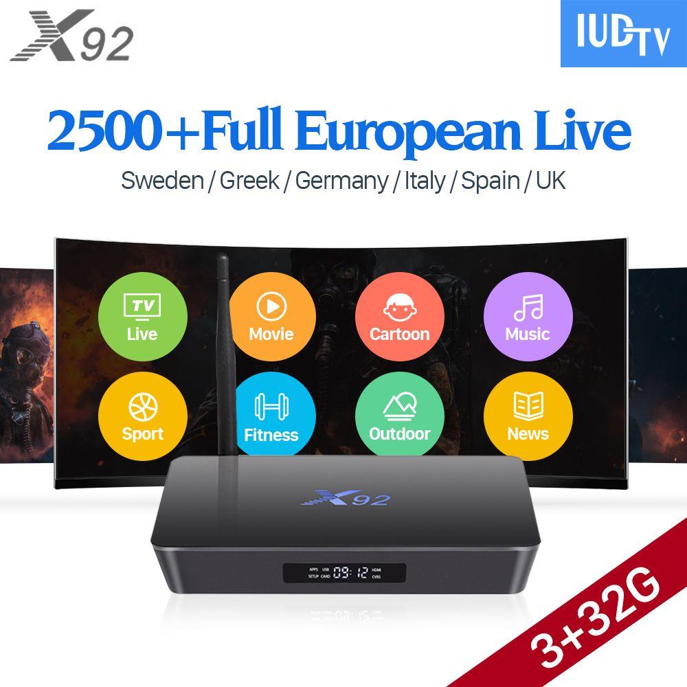 4K Sweden IPTV Europe 3GB X92 Smart Android 7.1 IP TV Box S912 2500+ IUDTV IPTV French Spain Norway Denmark Arabic IPTV Top Box