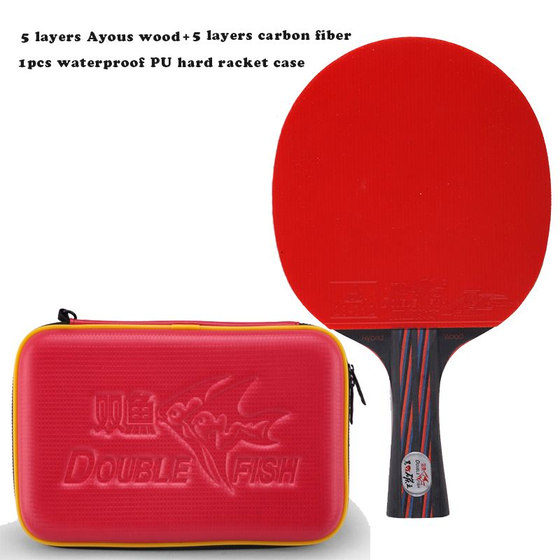 2018 New Double Fish Red-Black Carbon fiber Table tennis racket paddle ITTF approved rubber loop fast attack with waterproof bag